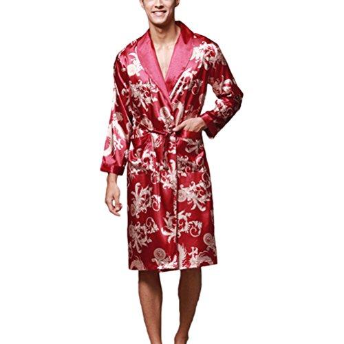 Zhhlinyuan Comfortable Lovers Silk Sleepwear Long sleeves Pajamas Nightgown Wine Red