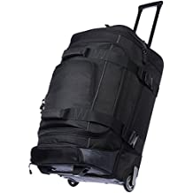 AmazonBasics Ripstop Rolling Travel Luggage Duffle Bag With Wheels - 28.5 Inch, Black