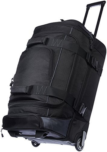 AmazonBasics Ripstop Rolling Travel Luggage Duffle Bag With Wheels - 26 Inch, Black ()