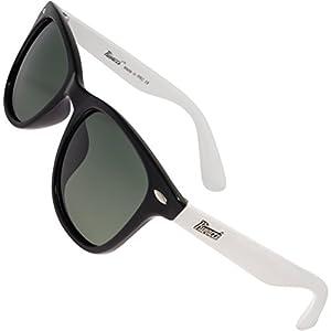Rivacci Men Women Wayfarer Black White Frame / G15 Green – Gray Lens Classic Retro Polarized Sunglasses