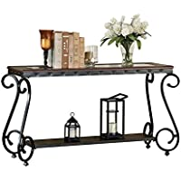 ACME Waneta Brown Cherry and Clear Glass Sofa Table