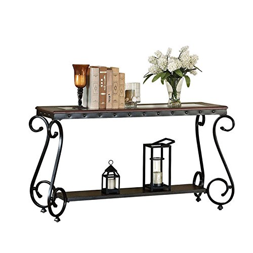ACME Waneta Brown Cherry and Clear Glass Sofa Table ()