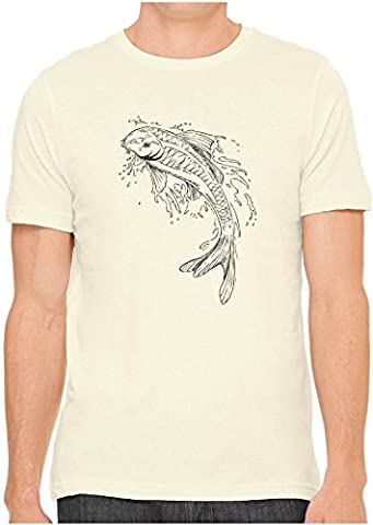 Unisex Mens Japanese Pond Koi Drawing Hand Screen Printed Fitted Cotton T-Shirt, Soft Cream, (Ponds Hand Cream)