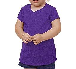 Kavio! Unisex Infants V Neck Short Sleeve Ht. Purple 18M