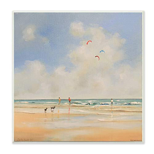 Beach Decor Blue Sign 12' (12' x 12' Blue Red Beach Theme Wall Art Square, Beige Tan Beaches Themed Hanging Picture Coastal Nautical Tropical Wood Plaque Kite Flying Dogs Pattern Puppy Doggy Ocean Sea Waves, MDF Wood)