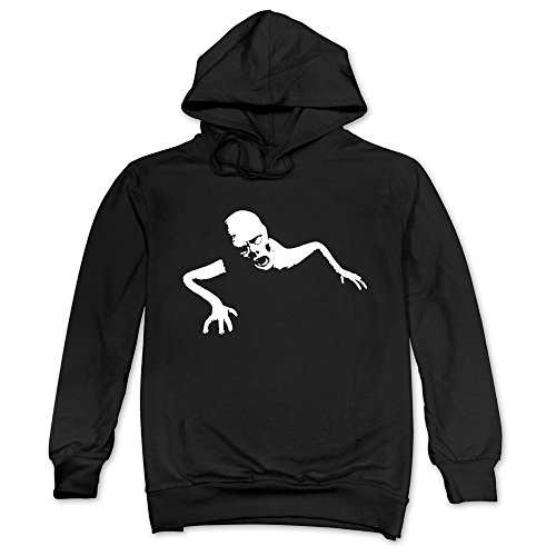 Mens Terrible Crawling Zombie Hoodies Black 100% Cotton -