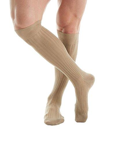 Pantherella Over The Calf Merino Wool Ribbed Socks (6796) L/Light Khaki (6796 Khaki)