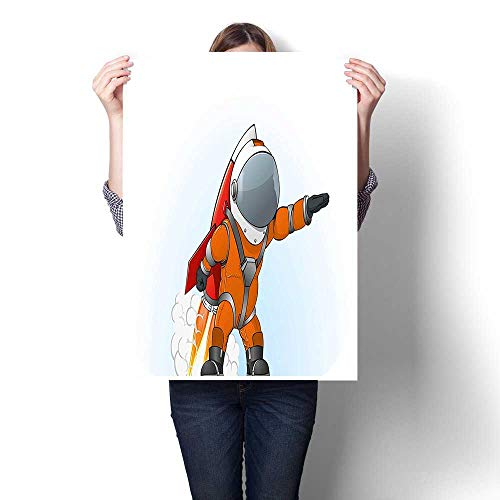 "Panels Wall Art Waves Painting on Canvas,Man Going to Space with Rocket Galactic Journey Science Illustration Orange Grey Red Painting,Paintings for Wall Decor,12""W x 16""L(Frameless)"