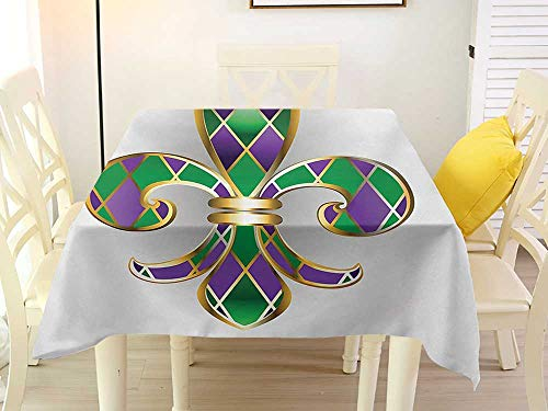 (L'sWOW Square Tablecloth Quilted Fleur De Lis Golden Yellow Colored Lily Symbol with Diamond Shapes Royalty Theme Ancient Purple Green Decorative 54 x 54 Inch)