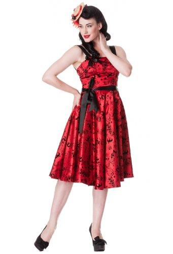 Plus Size Bloody Marry Red Rockabilly Gothic Velvet Tattoo Art Flocked Party Dress (XXX-Lage)