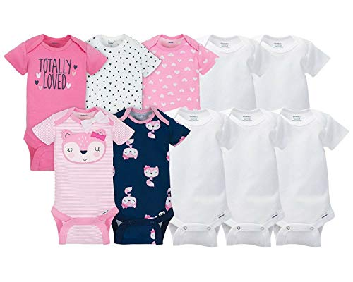 Gerber 10-Pack Baby Onesies (Pink Fox 5-Pack + White 5-Pack) Size 0-3 Months (Combo Essential Package)