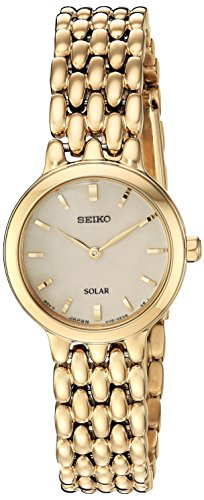 Seiko Women's Ladies Dress Japanese-Quartz Watch with Stainless-Steel Strap, Gold, 12 (Model: SUP352)