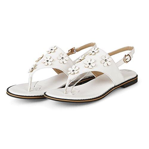 YE Damen Flache Knöchelriemchen Sandalen Zehentrenner mit Blumen und Schnalle Bequem Süße Schuhe Weiß