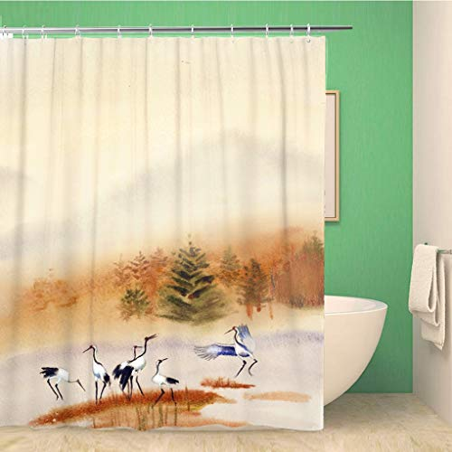 Awowee Bathroom Shower Curtain Orange Herons Dive Into The Water Against Autumn Forest Polyester Fabric 60x72 inches Waterproof Bath Curtain Set with Hooks