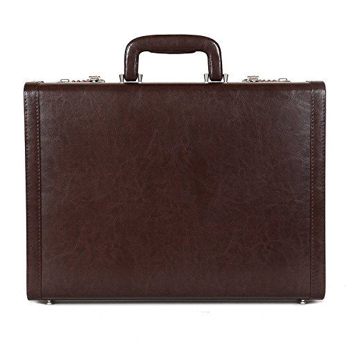 Reo Leather Men's PU Leather Briefcase Bag with Number Lock Combo (Brown)