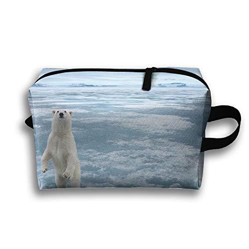 Travel Cosmetic Bag Polar Bear Unisex Makeup Bag Zipper Wallet Hangbag Wristlet Holder -