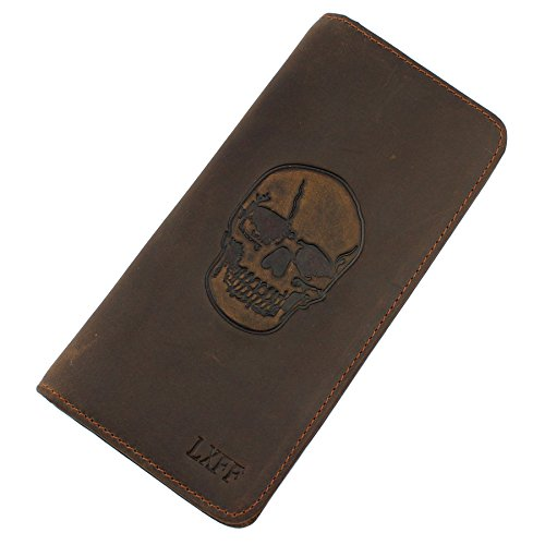 LXFF Mens Vintage Skull Genuine Leather Long wallet Bifold Wallets for - Wallets For Leather Men Skull