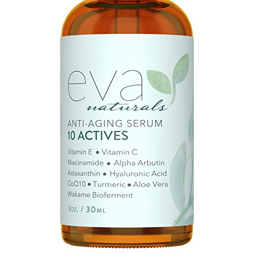 Eva Naturals 10 Actives Skin Serum (1oz) - Fine Line, Dark Spot Remover for Face - Achieve a Brighter, Lighter Complexion - With Niacinamide, Hyaluronic Acid, Vitamin C and Vitamin E - Premium Quality