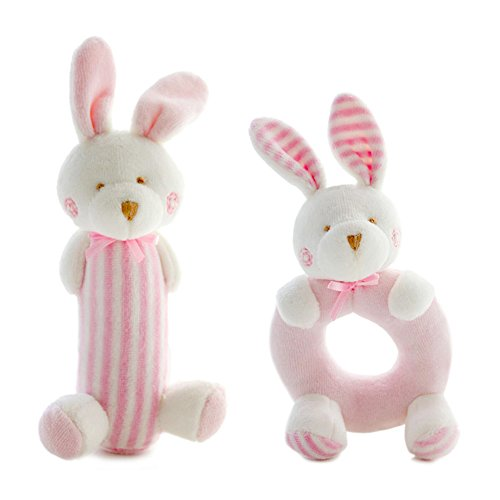 Pink Plush Bunny Soft Toys for 0-36 Months Newborn Toddler Doll Rattle ,Stuffed Animal for Infants Hand Perfect Twins Baby Gift - Sensory Activity Unique Shower & Help Kids Sleep on Crib Canopy (Newborn Doll Stroller)