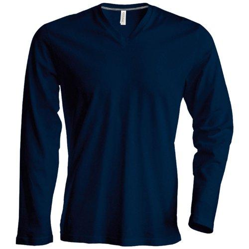 Kariban Herren Long Sleeve Crew Neck T-Shirt Marineblau 4X L