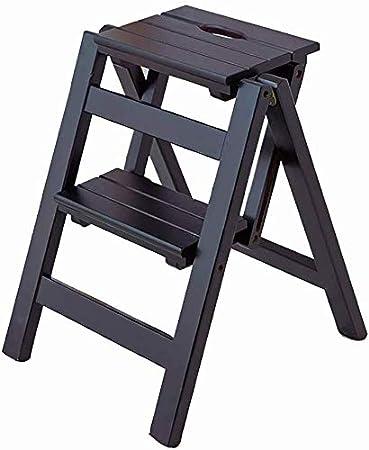GBX Taburete plegable fácil y multifuncional cómodo Escaleras Taburetes 2 peldaños, escalera de 2 niveles Taburete Cambiador de flores Banco de zapatos, madera de pino, 44X39.5X47Cm,Nogal negro: Amazon.es: Bricolaje y herramientas