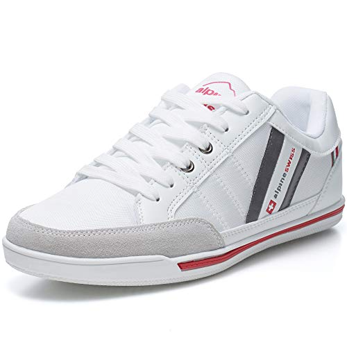 (alpine swiss Mens Stefan White Suede Trim Retro Fashion Sneakers 10 M)