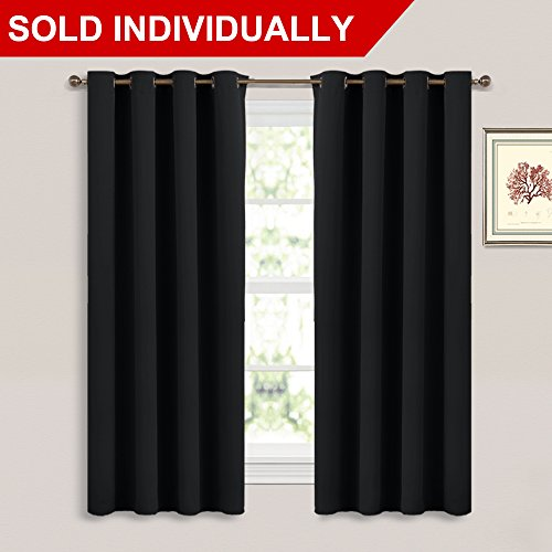 Black Out Window Curtain Panel - (Black Color) Thermal Insulated Modern Window Coveing Soundproof Drape Panel for Bedroom by NICETOWN, W52 x L63 Inch, 8 Grommets Top, 1 Piece Proof Panel
