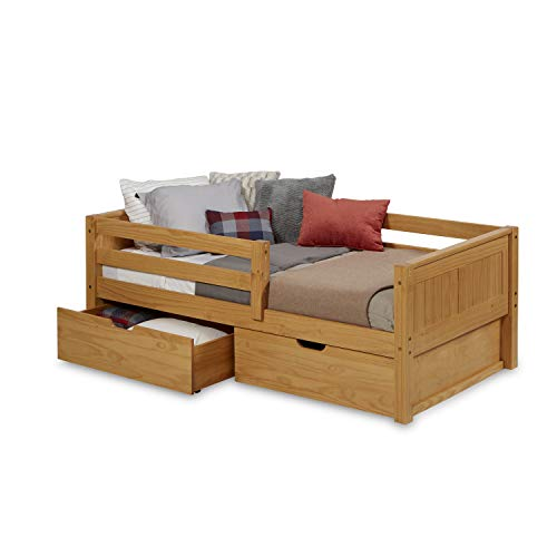 Camaflexi Panel Style Solid Wood Day Bed with Drawers and Front Rail Guard, Twin, Natural