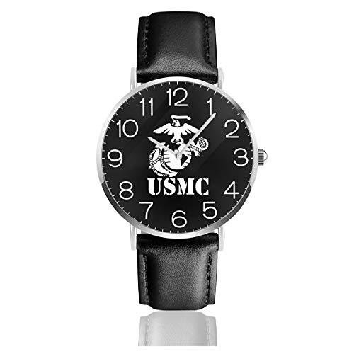 (Men's Fashion Minimalist Wrist Watch Globe Anchor USMC Marine Corps Viny Leather Strap Watch )