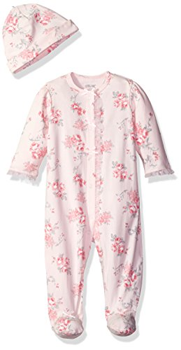 Little Me Baby-Girls Newborn Scroll Rose Footie and Hat, Pink Floral, 6 Months