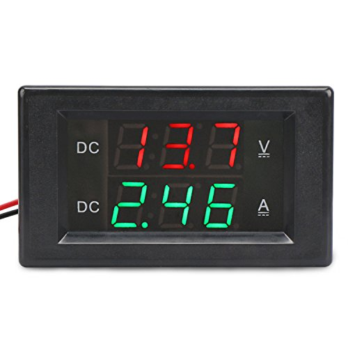"DROK DC 0-300V Amp Volt Digital Multimeter, 0-20A Five-Wire Ammeter Voltmeter, Digital Tester Multimeter with 0.39"" Voltage & Current Dual LED Display, Electronic Meter Panel Gauge for Car Auto"