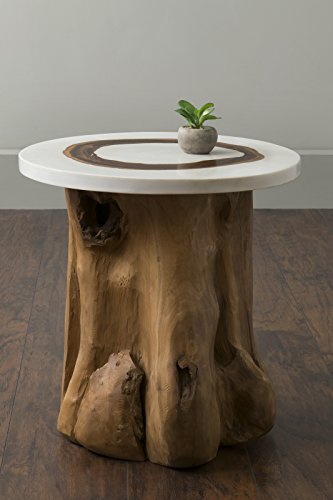 East at Main Numa Brown Round Teakwood Accent Table, (20x...