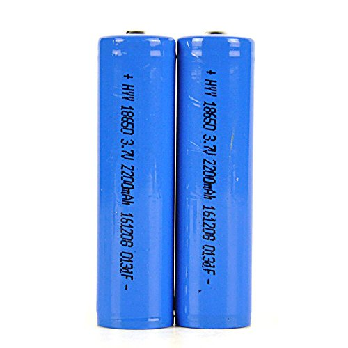 Irontria 18650 Batteries Rechargeable Li-on Battery for Headlamp 2200mAh 3.7v Blue (2 PCS)
