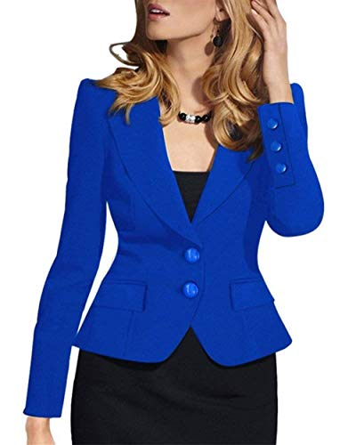Breasted Slim Bavero Colori Tailleur Blau Lunga Business Moda Anaisy Fit Manica Women Donna Solidi Di Single Giovane Giacca Coat Autunno Cappotto Corto Da Cn7q7OXfw