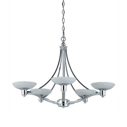 Triarch International Lighting 39475 Halogen VII Collection 5-Light Chandelier, Polished Chrome Finish with White Hand-Blown Art Glass Shades