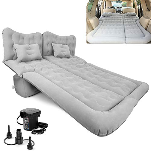 SUV Air Mattress, Inflatable Car Bed with Electric Pump and Pillow, Flocking Surface, Camping Sleeping Pad for Travel SUV Sedan Back Seat Trunk Tent Chevy Jeep Wrangler Toyota Honda Civic Truck