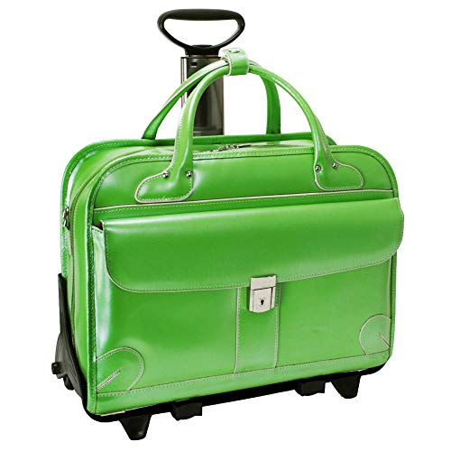 Fly-Through Detachable-Wheeled Women's Briefcase, Leather, Mid-Size, Green - LAKEWOOD | McKlein - 96611