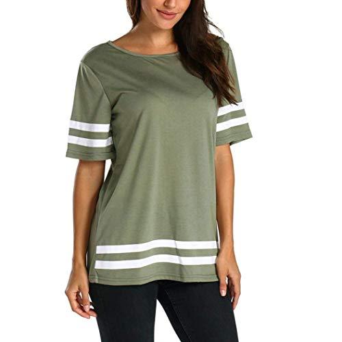 HX fashion Magliette Donna Estivi Eleganti Manica Corta O-Collo Sport Shirt Base Sciolto Tempo Libero Chic Camicetta Ragazze Leggero Shirts Ragazza Gr