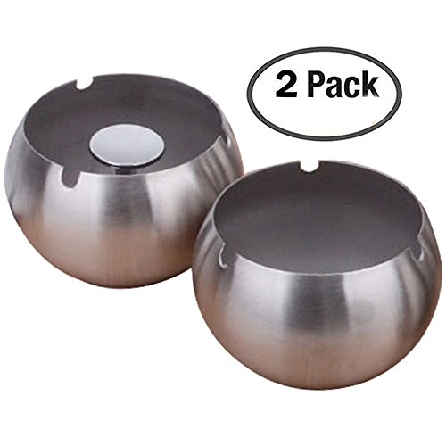 Oilp Portable Windproof Ashtray Modern Tabletop Stainless Steel Cigarette Ashtray for Patio Home Office Outdoor Travel (Silver)-2Pcs