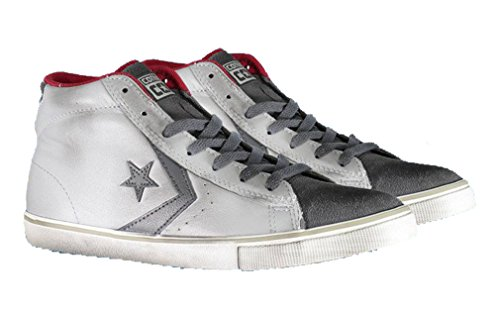 CONVERSE - Scarpe Converse alta Pro Leather Vulc Mid Junior ALL STAR in pelle e tessuto 655124C - 655124C - 32, Grigio