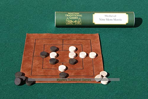 Nine Men's Morris - Replica Medieval Leather Board with Wooden Pieces