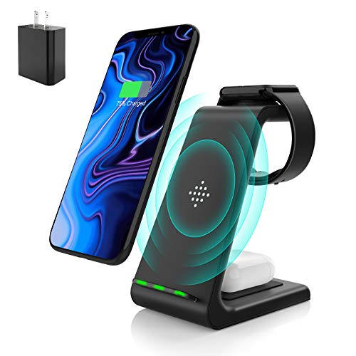 Wireless Charging Stand, Muleug 3 in 1 Wireless Charger Charging Station Dock for Apple Watch SE 6 5 4 3 2, Airpods Pro…