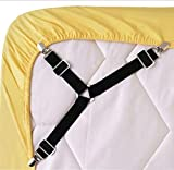 Best Bed Sheet Suspenders - Bed Sheet Fasteners, 4 PCS Adjustable Triangle Elastic Review