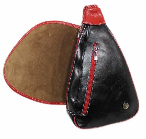 LEDER Tasche Ledertasche NERO-ROSSO Rucksack Schultertasche Backpack 06252