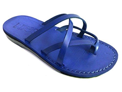 SANDALIM Beautiful Handmade Sandals for Men Women Genuine Leather - Criss Cross Style Blue