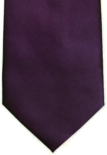 Solid Sateen Tie and Pocket Square, Plum Purple