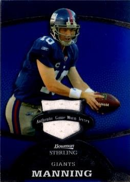 2008 Bowman Sterling #56 Eli Manning Game Worn Jersey Football Card - White Jersey Swatch - Only 349 made! by...