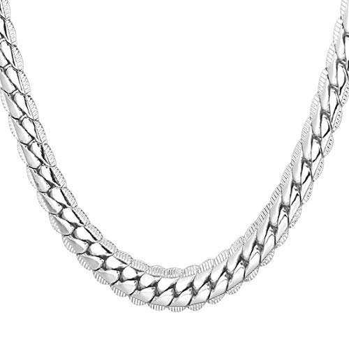 U7 Men Boys Fashion Chain 6MM Thick Platinum Plated Snake Chain Necklace Hip Hop Jewelry, 26 Inch