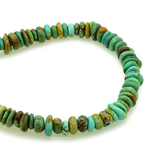 Bluejoy Genuine Natural American Turquoise 6mm Free-Form Disc Bead 16 inch Strand for Jewelry Making ()