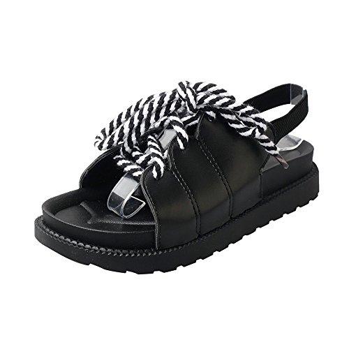 Deesee (tm) Dames Bohemen Vrijetijdsbesteding Dames Platte Sandalen Peep-toe Outdoor Causale Schoenen Zwart